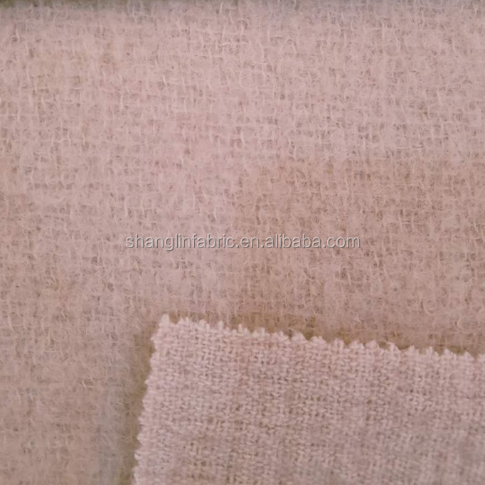 2018 new fashion pink wool mohair blended woven fabric for women overcoat