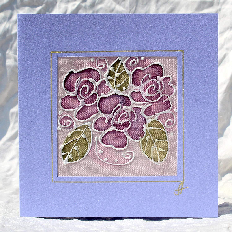 Abstract Pink Roses,Original Batik Greeting Card, Handpainted Roses Silk Card,Pink Roses Greeting Card,Wedding Invitation,I Love you card.