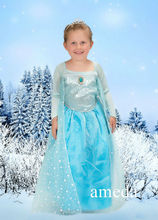 Deluxe Elsa Princess Costume with Crystal Crown 2pcs set
