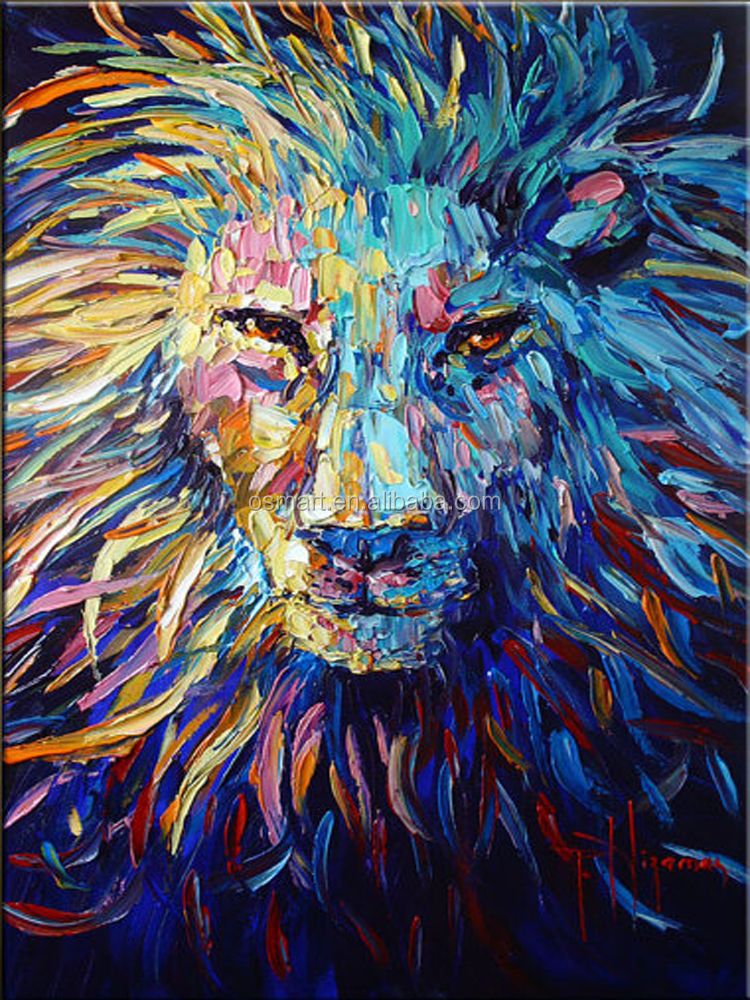 Colorful animal oil painting on canvas abstract animal oil for Animal oil paintings