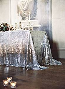 BRIDAL'S CHOICE, 90x156Inch Rectangular-Silver Sequin Tablecloth- , Wedding Glitz Sequin Table Linen for Decor (Silver)