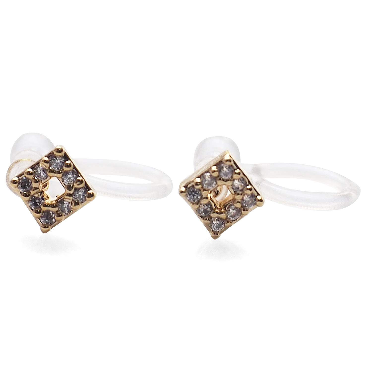 Miyabi Grace Women's Square Minimal Comfortable Simple Cubic Zirconia Crystal Invisible Clip On Stud Earrings Gold tone