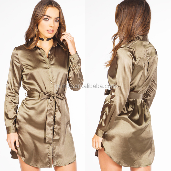 OEM Manufacturers Sexy New Casual Loose Fit Shirt Dress Luxury Fashion Long Sleeve Button One Piece Silk Satin Dress Styles