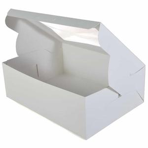 white paper cake box with pvc window