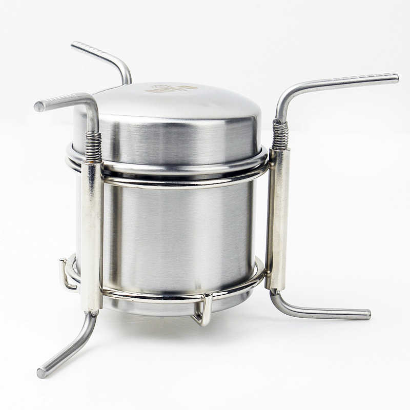Mini folding camping picnic brushed stainless steel stove alcohol burner manufacturer