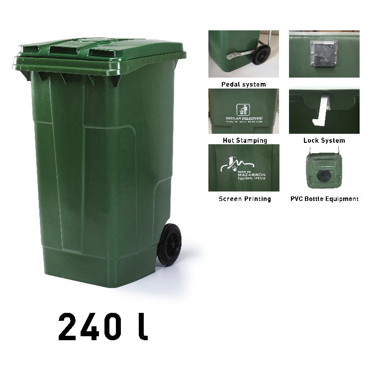 240 litres en plastique int rieur et d 39 ext rieur d chets for Grande poubelle exterieur