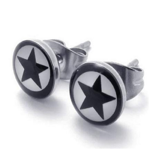 Two Tone Beautiful Unisex Mens Star Stud Stainless Steel Earrings, 2pcs, White Black