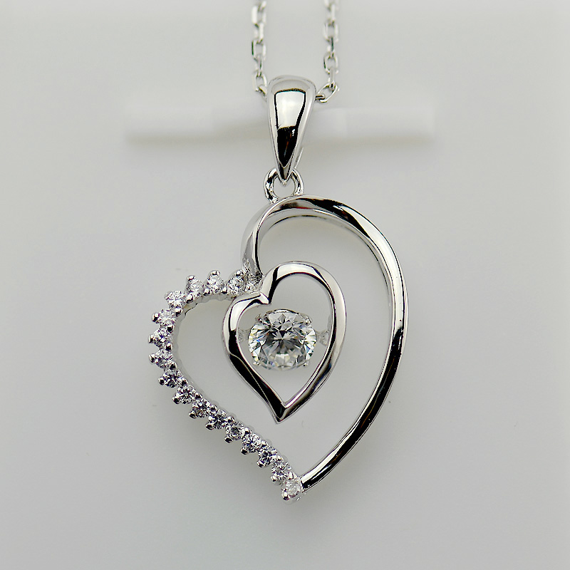 Wholesale CZ Pave 925 Sterling Silver Dancing Stone Heart Jewelry Pendant Necklace
