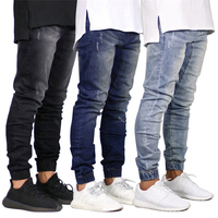 New 2019 latest jeans model men slim jogger elastic bottom pant jeans for men