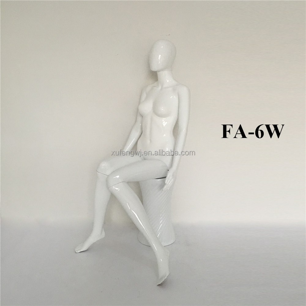 FA-6 gloss white sitting cheap display female posing mannequins