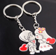 Fashion Heart Key Ring Silver Color Lovers Love Key Chain Valentine's Day gift 1 Pair Couple I Love You Keychain