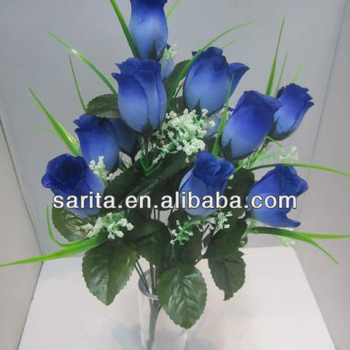 12 heads dark blue artificial scientific names of flower rose bud