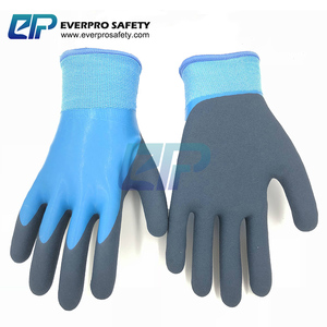 Thermal Waterproof Nylon Cashmere Liner Latex Double Dipped Sandy Coated Working Glove Winter