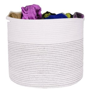 Wholesale cotton rope basket with handle splicing manual storage woven basket