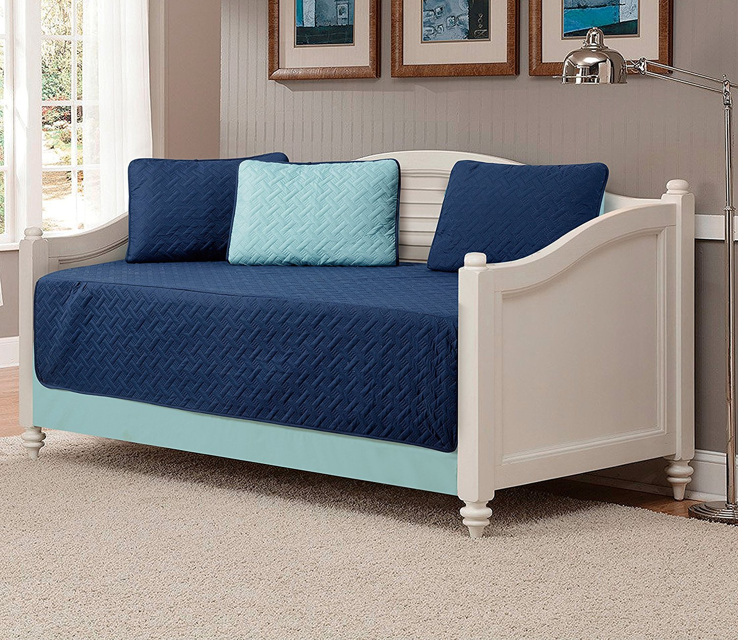 Fancy Collection 5pc DayBed Quilted Bedspread Coverlet Set Embossed Solid Navy Blue/Light Blue Reversible New