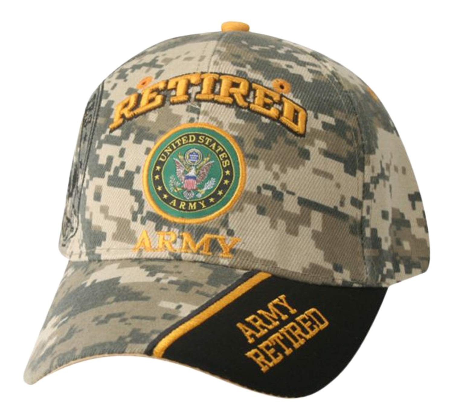 0fc503bd8c5d21 Get Quotations · Mitchell Proffitt Army Retired Hat-Camo Army Hat with  Multiple Positions