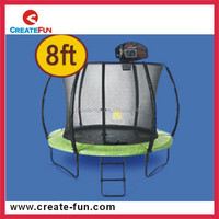 CreateFun Basketball hoop 8ft cheap commercial outdoor big kids trampoline with safety enclosure net