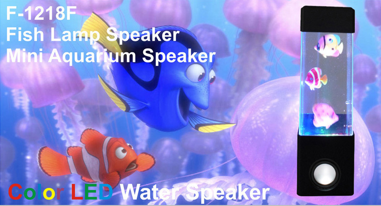 Hot sales led dancing water show speaker with small aquarium, LED Water Light Speaker with dancing fish