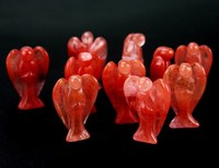 Wholesale cheap carved 50mm little red glass crystal angel figurines