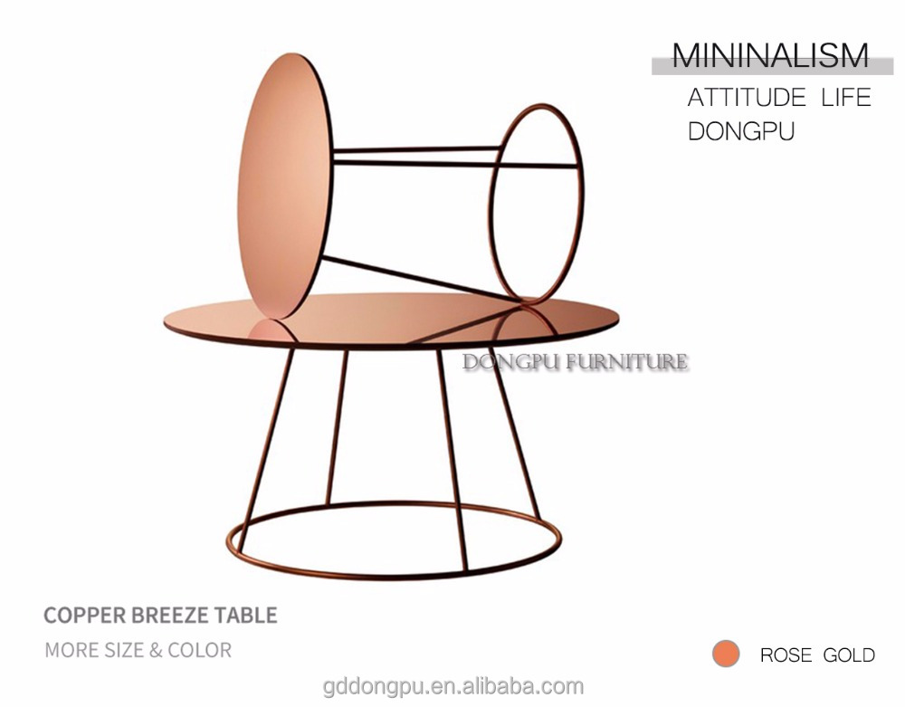 Nordic style living room Copper Breeze Table set minimalism stainless steel end table simple modern design F111