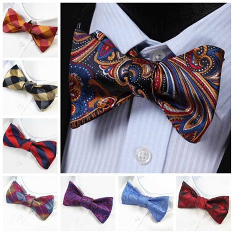 Men's Bow Tie Gold Paisley Bowtie Business Wedding Bowknot Dot Blue And Black Bow Ties For Groom Party Accessories