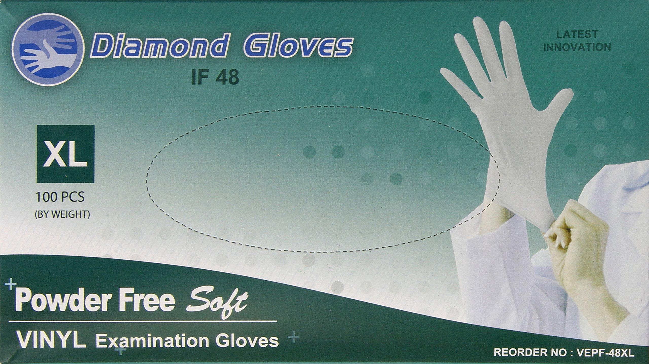 Diamond Gloves Advance Powder-Free Soft Vinyl Examination Gloves, Clear, X-Large, 100 Count