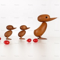 Nordic style hand carved small decorative wooden Teak duck carving wood for arts and crafts