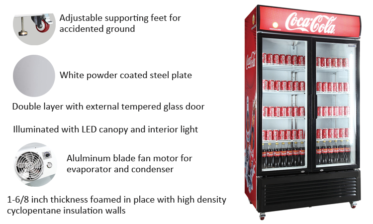 1100L refrigerator display showcase cooler
