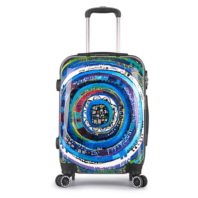 Stylish Retro Printing ABS/PC Trolley Luggage Suitcase
