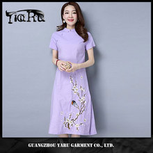 Ladies linen embroidered dress long qipao cheongsam made in China