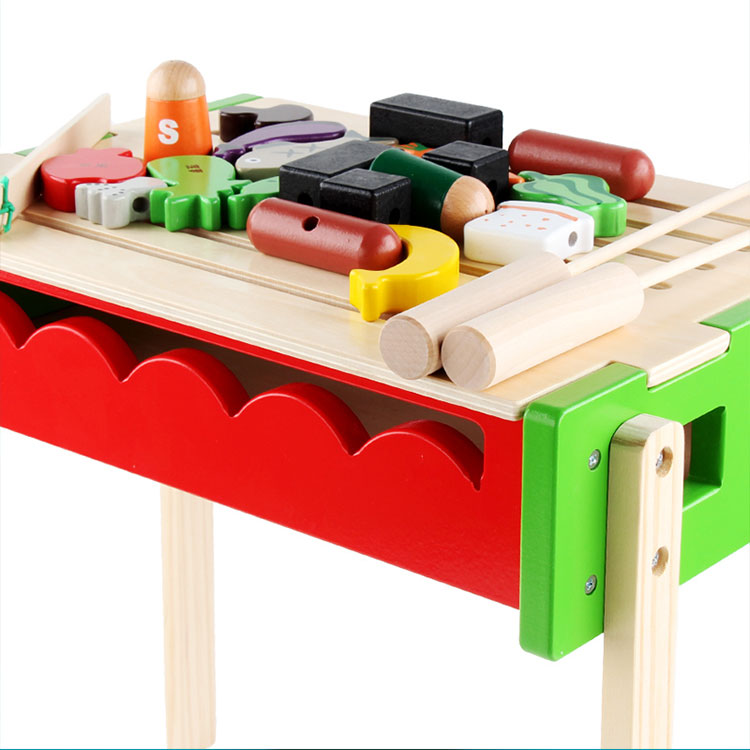 Wholesale Interesting Role Play Sets Wooden Cutting Vegetables Toy Pretend Play BBQ Toy for Children