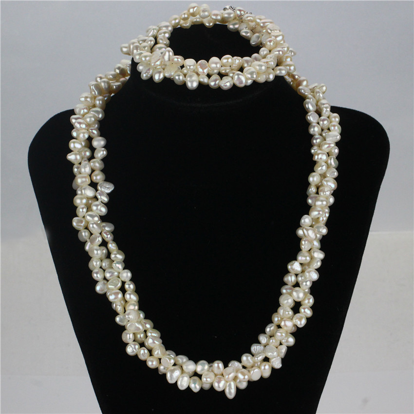 5-6mm baroque natural heavy pearl necklace set, small pearl jewelry necklace set