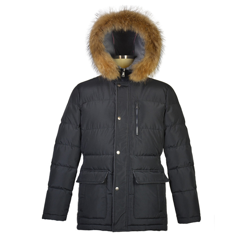 <strong>Mens</strong> <strong>Winter</strong> Casual Duck Down <strong>Jacket</strong> With Naturel Raccoon Fur Hood
