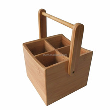 Picnic Bamboo Utensil Caddy Organize,Bamboo Condiment Caddy / Kitchen Supply, Utensil Holder
