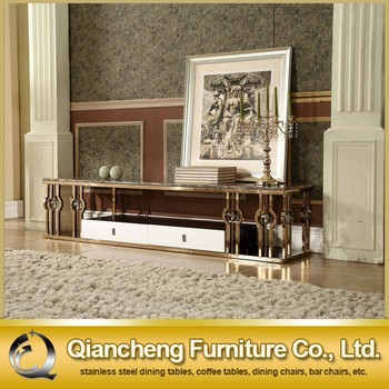 Antique Gold Tv Stand Marble Top With Cabinet View Antique Gold