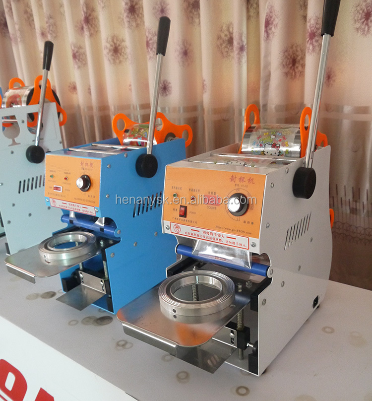 75mm 95mm 90mm Manual Plastic Cup Sealer Sealing Machine 110v / 60hz