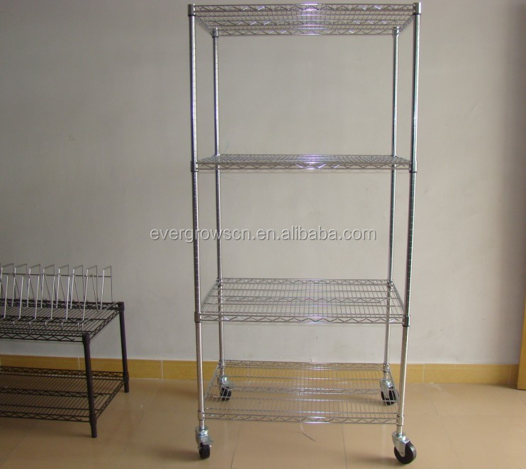 Adjustable Grid Wire Modular Shelving And Storage Cubes With Wheels ...