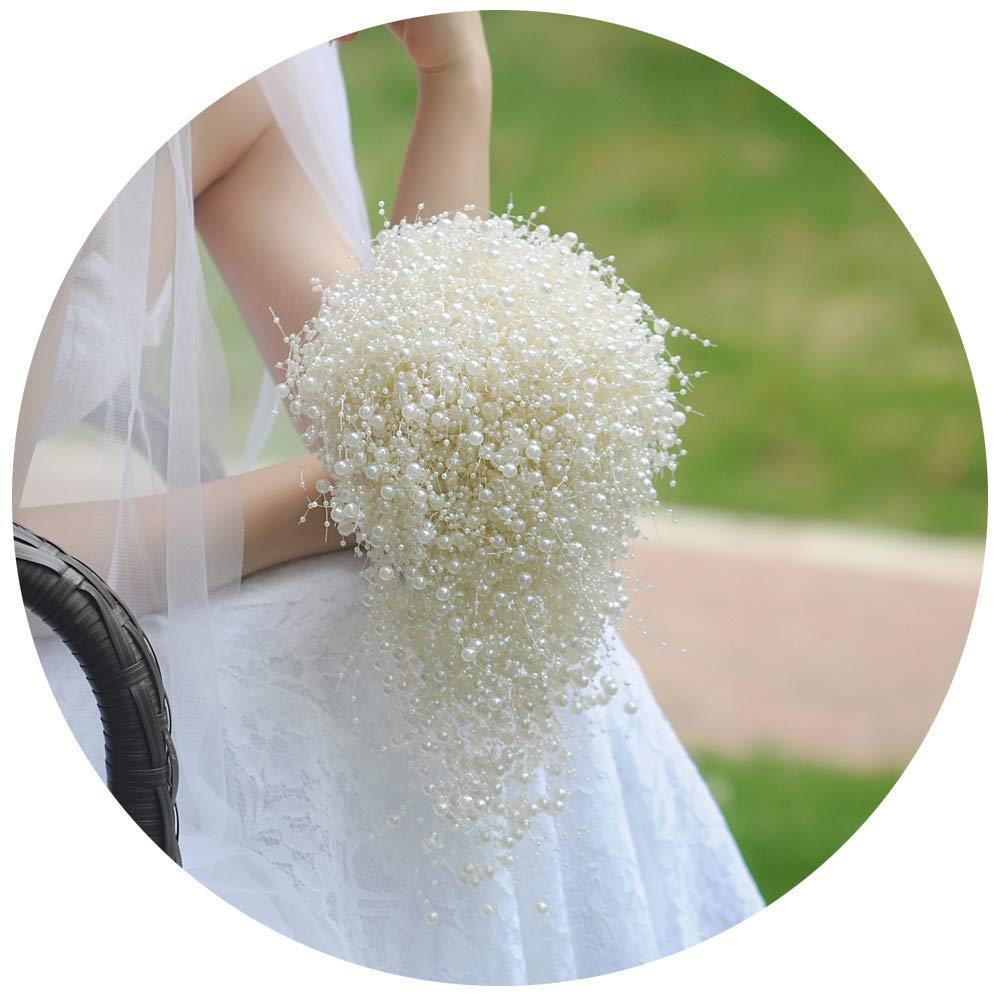 THK-Wedding Wedding Bouquets for Bride,Bridal Bouquets Bridal Corsages,Ivory Pearls Wedding Bouquets Bridesmaid Bouquet
