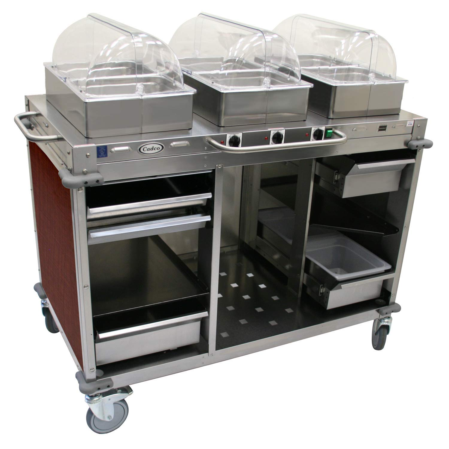 "Mobile Hot Buffet Cart Color: Versailles Cherry, Size: 51"" H x 55.5"" W x 28.75"" D"