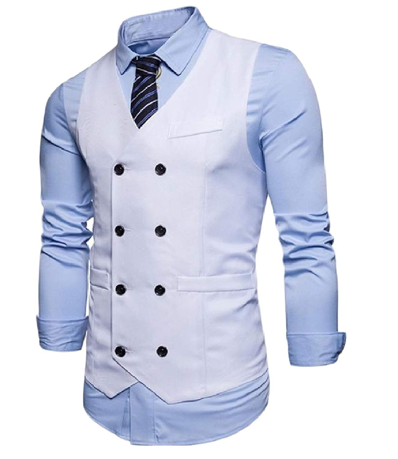 Abetteric Mens Trim-Fit Pure Colour Double-Breasted Business Waistcoat