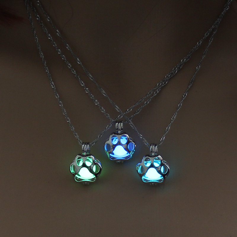 2017 Fashion Glow in the Dark Dog Paw Pendant Necklace Silver Chain For Women Girl Punk DIY Locket Cage Luminous Pet Jewelry