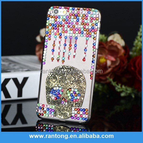 Skull bling rhinestone cell phone case for iphone