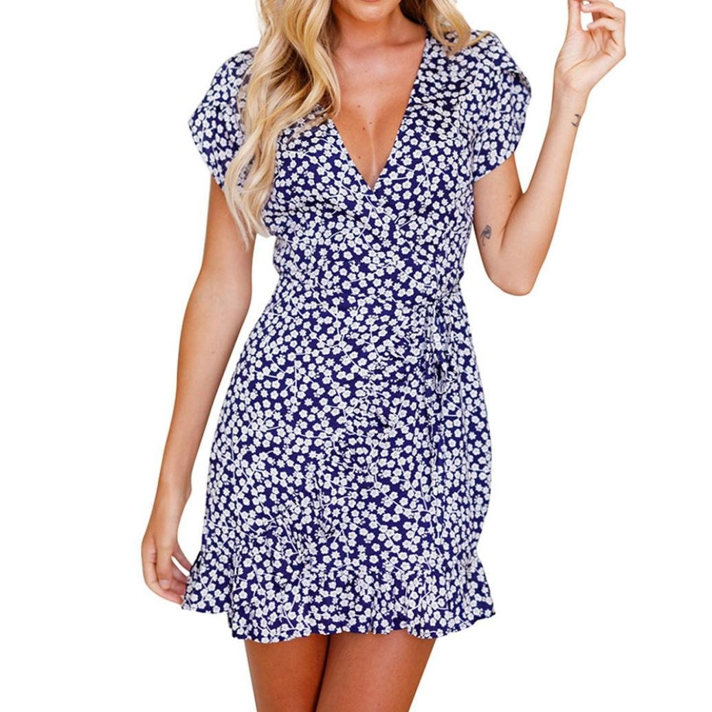 6afe8a0c39 Get Quotations · Women V Neck Party Dress Beach Floral Print Maxi Dress  Summer Hawaii Dress Mini Dress Hemlock