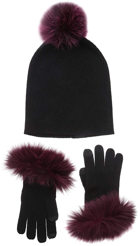 b29ea06b9e8 Get Quotations · Sofia Cashmere Women s 100% Cashmere Gift Box Set Trim  Gloves Fur Pom Hat