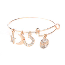2017 Trending Rose Gold Expandable Wire Bangle With Charms