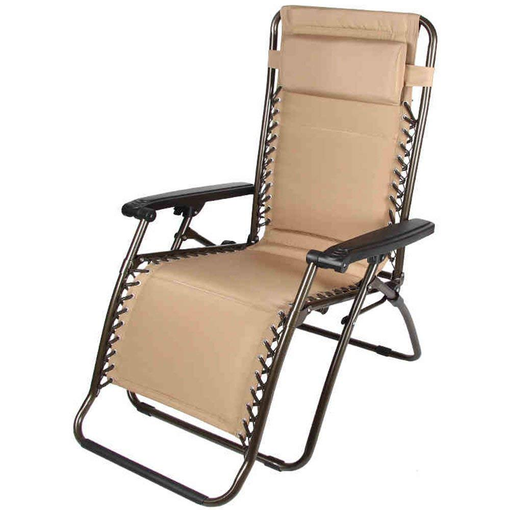 Rocking Chairs MEIDUO Zero Gravity Lounge Chair with Pillow Adjustable Folding Recliner Outdoor Patio Chair brown