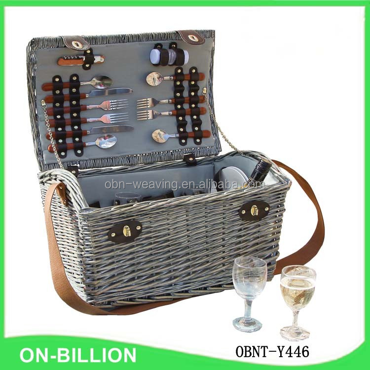 Grey Color 4 Persons Usage Natural Willow Picnic Basket With Belt ...