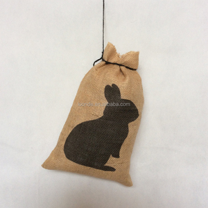 Natural rustic vintage hessian burlap Easter bunny favor sack bag