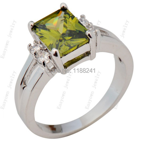 10ps/lot Size 6/7/8/9/10 Peridot Zircon Stone Finger Ring Women Fashion Jewelry Rings 10KT White Gold Filled Promotion RW0250