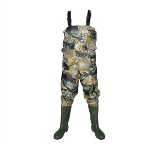 Qinghong Footwear 70D nylon PVC camo chest fishing waders high quality 100% waterproof nylon fishing wader